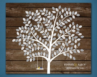 DIGITAL Tree Sign In Board • Unique Guestbook • Wedding keepsake • Sign In Board • Tree • Printed Wood backing • Silver Tree Sign In Board