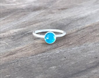 Neon Blue Apatite and Sterling Silver Ring, Gemstone ring
