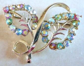 Vintage Aurora Borealis Rhinestone Adorned Leaf Brooch By Exquisite.