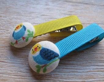 Fabric Covered Button Alligator Clip - Bird (Set of 2)