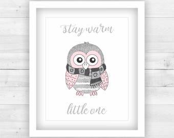 Girl Nursery Decor Poster Print Digital - winter owl