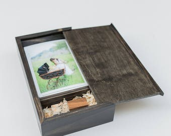 SALE ITEM- 100ct Photo Usb Box with a Sliding Lid (holds 100 photos)