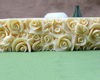 1kg Rose Loaf Cuboid Soap Mold Flexible Mold Silicone Mold Candle Candy Cake Mold D0016