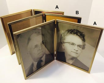 Vintage 8x10 Double Bifold Gold Toned Frame Detailing Victorian Style Romantic Decor Hippie Boho Decoration Antique frames