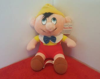 Vintage plush pinocchio doll, plush doll,  8 inch, very clean with tags