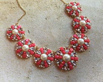 Orange Statement Necklace, Orange Necklace, Statement Necklace, Beaded Necklace, Beadwork Necklace, Gift For Her