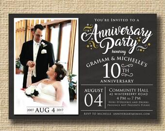 50th Anniversary Invitation, Printable 50th Wedding Anniversary Invitation, Chalkboard 50th Anniversary Party, Golden Anniversary 50th 60th