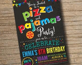 Pizza Party, Pizza and Pajamas Party Invitation, Pizza Party Birthday Invitations, Pajama Party, Sleepover Pizza Invitation Chalkboard
