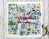 London map Christmas cards pack of 6