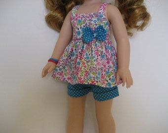 14.5 Inch Doll Clothes - Tiny Turquoise Blossoms Shorts Outfit made to fit dolls such as Wellie Wishers doll clothes