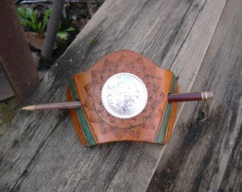 394 Medium fit, Bold LEATHER barrette, Hair Slide, Stick Barrette, Western Style, big Concho, Brown, Green-Turquoise
