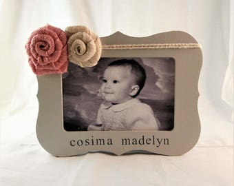 New baby girl gift, personalized newborn gift, baby girl frames
