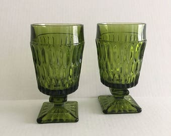 Mt Vernon Green Footed Tumblers by Indiana Glass Water Glasses