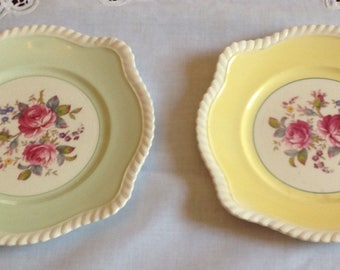Two Johnson Bros F.B.&Co Windsor Ware Square Pastel Side Plates