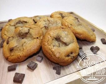 Gourmet Salted Chocolate Chunk Cookies - Jumbo Cookies - Sea Salt, Browned Butter, Chocolate Chunks
