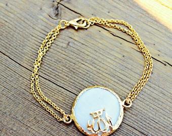22K Gold Plated Allah Bracelet | Matte Mother of Pearl | Islamic Bracelet | OryxTreasures