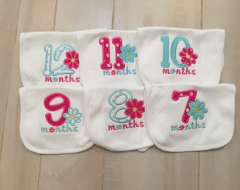 Monthly Milestone Bibs for Girls   7-12 Month Set