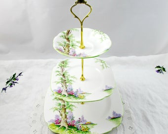 Three Tier Cake Stand Made from Royal Albert Greenwood Tree Plates, Vintage Bone China