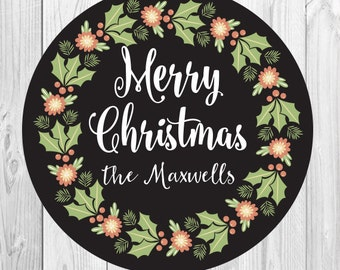 Christmas Stickers, Personalized Holiday Chalkboard Gift Tags, Chalkboard, Merry Christmas Wreath, Personalized Christmas Labels