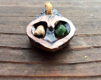 Petrified Wood & Dioptase - Walnut Heart Pendant