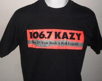 Vintage Original 1980s KAZY Rock and Roll RADIO Cheyenne Wyoming Soft Thin Black Screen Stars T Shirt L