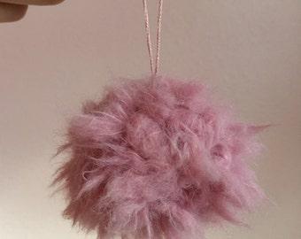 Mauve faux fur pompom ornament