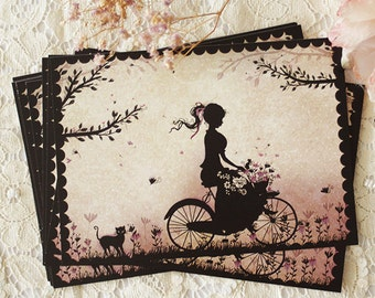Postcard - Illustrated postcard - miss shadow - silhouette - cameo - bicycle - countryside - La partie de campagne