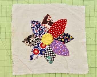 Vintage Hand Applique Flower, Feed and Flour Sack Fabrics, Circa 1930s, frame, display or integrate into new sewing project, Block #14