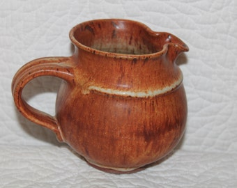B8 Beautiful Hand Made Pottery Natural Woodlands Look Creamer Brown Rustic Farmhouse Folk Country