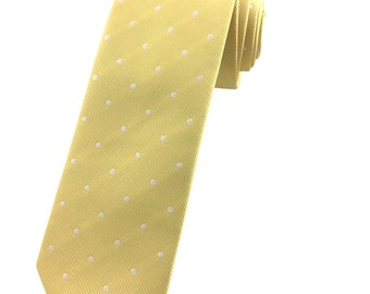 Yellow with White Polka Dot pattern tie 6.5 cm Skinny tie. Slim Tie. Narrow Thin Tie. Skinny Tie. Formal Necktie. Polkadot ties. Skinny tie