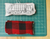 grey boy's city alleyway garbage truck plush HOLIDAY ornament, handprinted * handmade, unisex, baby, toddler, children toys