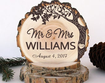 Rustic Wedding Cake Topper. Engagement Love Tree Cake Topper. Rustic Wood Cake Topper. Wedding Keepsake. Rustic Cake Topper