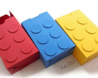 Building Block Favor Box-Yellow, Blue & Red Medium Self-Closing Building Block Favor Box, Candy Box -or CHOOSE YOUR COLORS-Set of 6pcs