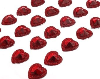 24 x 16mm Self Adhesive Pointed Resin Red Hearts Stick on Gems