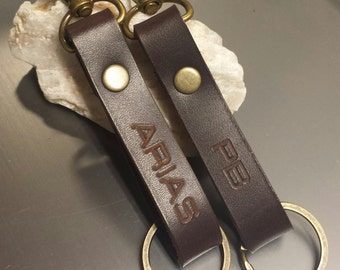 FREE SHIPPING-Personalized Leather Keychain, Leather Key Clip, Key Fob , Personalized Keychain, Custom Keychain, Men's Accesories