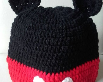 Toddler Mouse  hat, Crochet mickey mouse hat, baby mickey mouse  hat, mouse hat, ready to ship