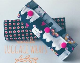 Llama/Reversible/Luggage/Handle/Wrap Covers/Set of 2/Luggage Identifiers/Llama gifts/llama travel/llama funny/alpaca/travel/suitcases/
