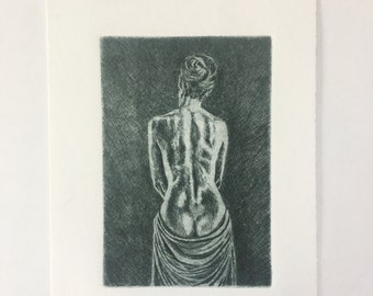 Original Miniature Etching Woman's Back by F. Lubben Unsigned