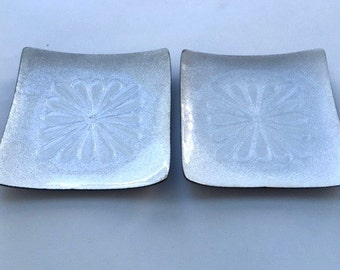 Pretty Pair of Small Square White Enamel Dishes