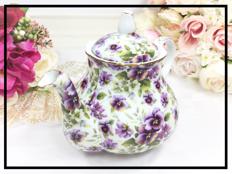 Purple pansy teapot purple floral porcelain teapot for tea set gallery photo gallery photo gallery photo reviewsmspy