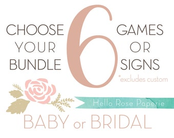 Choose Any 6 Games or Signs in my Shop! Baby Shower OR Bridal Shower Games and Signs *Sorry, Custom Games or Personalized Signs Not Included