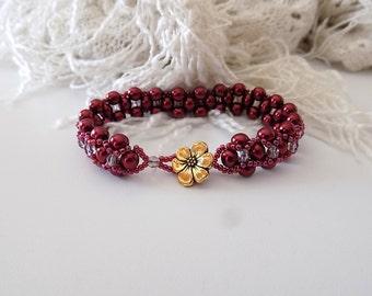 Burgundy Bracelet Burgundy Pearl Bracelet Hugs and Kisses Bracelet Victorian Style Bracelet Edwardian Jewelry