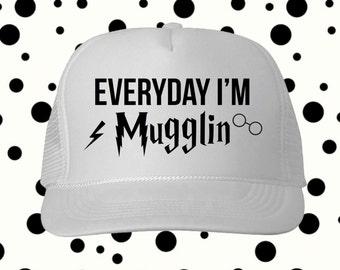 Everyday I'm Mugglin Hat, Disney Harry Potter Inspired Trucker Hat, Snapback, Custom Trucker Hat, Disney Hat, Mickey Cap