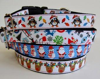 READY TO SHIP! Christmas Dog Collars Penguin, Reindeer, Christmas Lights, Santa, Snowman