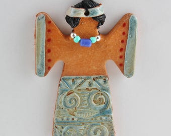 Southwest Angel Christmas Ornament, Terra Cotta with Beaded Necklace by Arizona Artist, Karlene Voepel.  Sold individually.
