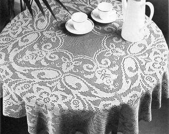 crochet tablecloth crochet pattern pdf filet crochet circular round table cover thread crochet cotton 112.5cm diameter pdf instant download