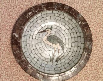 Heidi Mosaics Denmark Bowl Crane Mid century Mosaic tile art Heidi Mosaics Bird Bowl