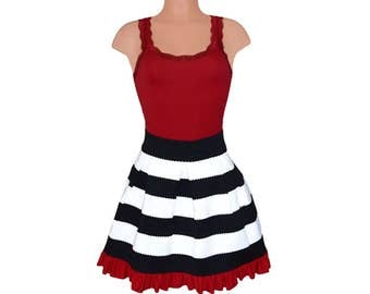 Deep Red + Black Stripe Scuba Skirt