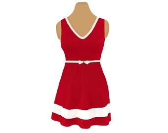 Red + White Skater Dress