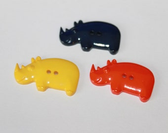 Rhino shape buttons, cute mixed color children buttons, animal shape buttons, zoo buttons, safari buttons, boys buttons